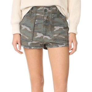 Free People Camo Shorts Green High Rise
